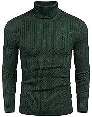 DENIMHOLIC Mens Slim Fit Turtleneck Cable Knit Pullover