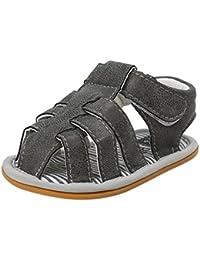 Zapatos Bebe Niño Verano Xinantime Lona Sandalias de Velcro Suela Blanda Zapatos del Antideslizante Zapatos casuales Sneaker Para Recién Nacido Niña Niño (12-18 meses, Gris oscuro)