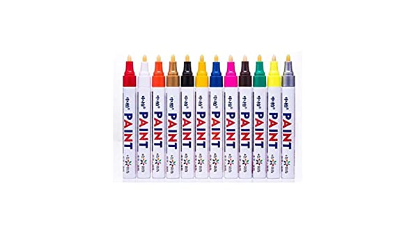 12pcs Assorted Colors Metallic Marker Pens Adult Coloring Books Glass Painting
