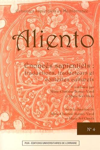 Aliento n4 - enoncs sapientiels : traductions, traducteurs et contextes culturels
