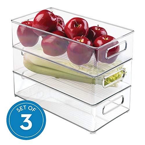 InterDesign 70530M3EU Deep Container, 3er Pack, Kunststoff, Transparent, 36,83 x 20,32 x 10,16 cm