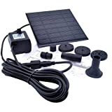 VicTsing 1.2 Watt Solar Power Water Pump Garden Fountain / Submersible Pump with Suckers at the Bottom, Features A Square Solar Panel to Be Staked on the Ground
