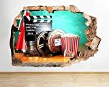 Q991 Cinema Film Movie Living Cool Smashed Wall Decal 3D Art Stickers Vinyl Room