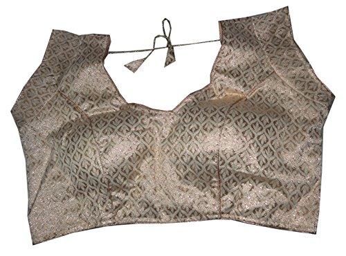 Bigfashionshop Women's Designer Blouse Brocade Silk Golden Stitched Padded Choli Medium  available at amazon for Rs.499