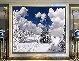 Yosot Benutzerdefinierte Fototapete Wandbilder Winter Schnee Tanne Wolken Bäume Natur Wohnzimmer Fernseher Sofa Wand Schlafzimmer 3D-Hintergrundbilder-140Cmx100Cm