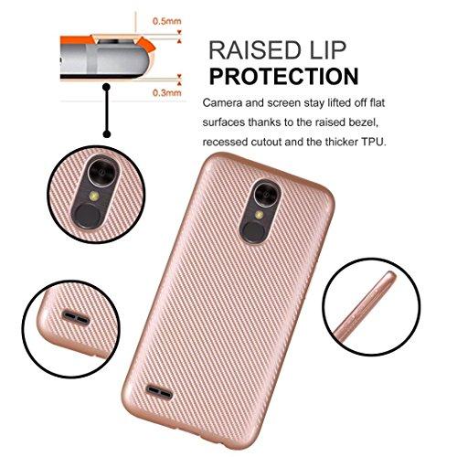 YHUISEN LG K10 2017 Case, Slim Carbon Fiber Gummi Soft TPU Hybrid Shockproof Gehäuse Cover für LG K10 2017 ( Color : Rose Gold ) Silver