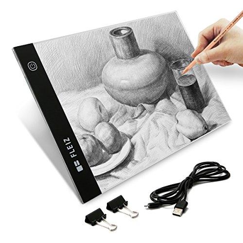 Tattoo-transport-box (Elfeland LED Licht Pad Helligkeit dimmbar Leichtkasten A4 Leuchttisch Tragbare Zeichnen Light Pad mit USB Kabel Malen Pad Ideal für Malen Skizzierung Animation Zeichnung)