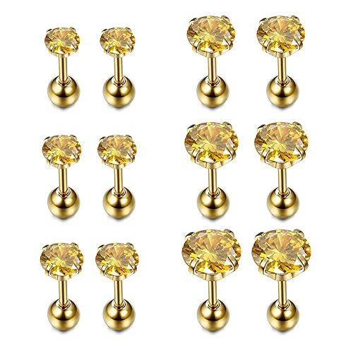 Funseedrr 6 Paar 16 Gauge Edelstahl Ohr Tragus Piercing Stecker Set 6mm Helix Cartilage Ohrstecker Piercing Schmuck