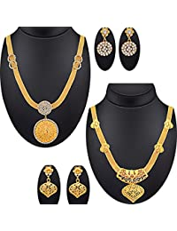 Spargz Antique Gold Plating Long Haram Pack Of 2 Jewellery Set For Women COMBO 671
