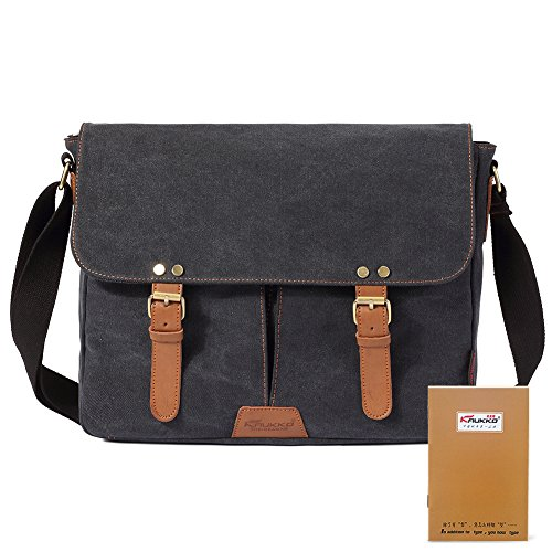 New design stylish Retro vintage mens canvas leather messenger bag Schwarz (Canvas Retro Bag Messenger)