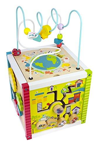 Cubo Educativo De Madera Pequeño Juegos de Center Laberinto De Cuentas Cabritos y Los Bebés Laberinto Del Grano Ábaco Mapa Del Mundo Bloques De Madera Elefante Jirafa León Cocodrilo