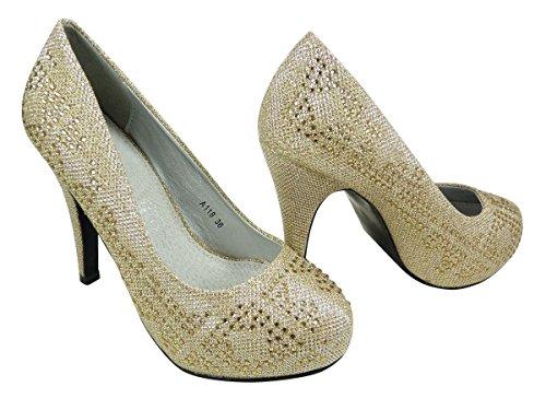 Chaussures Escarpins de mariage strass paillettes Doré