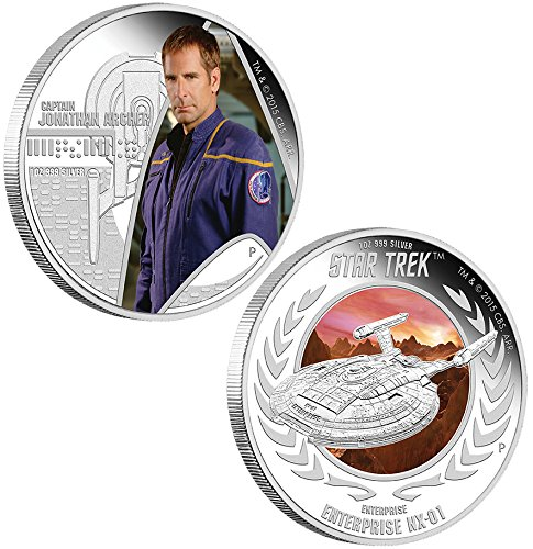 Power Coin Captain Jonathan Archer Enterprise NX-01 Star Trek Two Silber Münze Set 1$ Tuvalu 2015 -