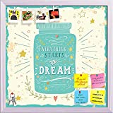 ArtzFolio Everything Starts With A Dream Printed Bulletin Board Notice Pin Board cum White Framed Painting 16 x 16inch