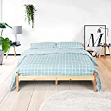 Natural Sturdy Pine Solid Wooden Bed Frame Underbed Drawer Set Original Color (QUEEN BED FRAME)
