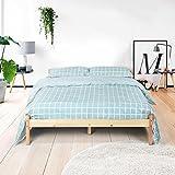 Natural resistente marco de cama de madera de pino maciza cama cajón Set original color (Queen cama marco)