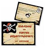 8 Einladungskarten Piraten Kinder Geburtstagsparty - doppelseitig mit vorgedrucktem Einladungstext Postkartenqualität