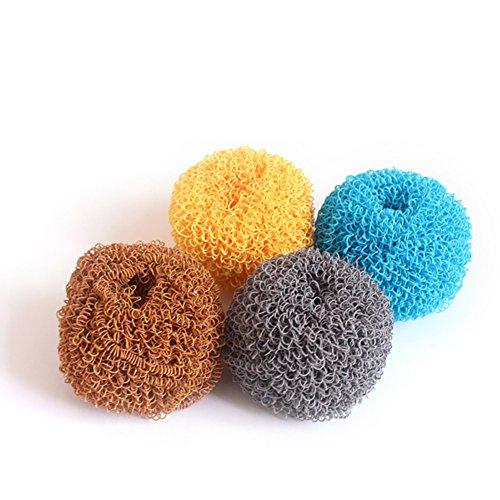 Antihaft-Reinigungs-Ball ist nicht einfach, die Beschichtung Topf Küchenbürste Topfbürste mehrfarbige saubere Kugel zu verletzen (4 Produkte pro Bestellung) -