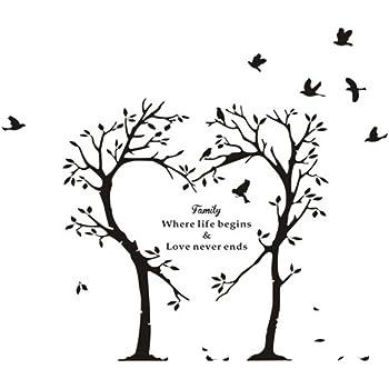 Wall Sticker, Innovative Family Words Heart-Shaped Tree ...