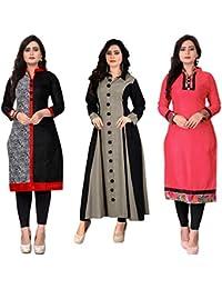 Pramukh Fashion Women's Cotton Semi-stiched Kurti(M-21_Multicolour_46) - Pack of 3