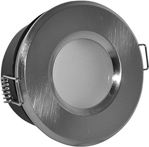 Bain einabu IP65 Rond (sans ampoule) | Aluminium Brossé | 12 V MR16 230 V Culot GU10 inclus | Idéal pour ampoule LED et halogène 49-51 mm - étanche - inoxydable
