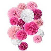Bolas de papel de seda con pompones de papel para decoración de fiestas y celebraciones, 15 unidades de 20, 25, 35 cm