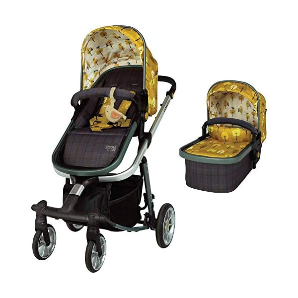 Cosatto Giggle Quad Pram & Pushchair Spot The Birdie Cosatto Enhanced performance. unique tyre material and all-round premium suspension give air-soft feel. Comfy all-round. spacious carrycot for growing babies.  washable liner. reversible reclining seat. Ultimate buy. tested up to a mighty 20kg for even longer use. big 3.5kg capacity basket for big shop 1