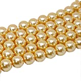 D Art Zone 8 mm 2 Strands 32 cm (200 pcs 100 pcs Each Strand) Glass Pearl (moti) Beads Jewelry DIY Crafts Making, Golden Color Color (8 mm)