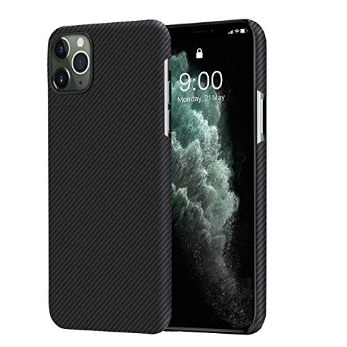 pitaka Coque Ultra Slim iPhone 11 Pro 5.8', Aircase en Fibre d'Aramide 600D, Ultra Rare matière Ultra Fine et légère,Design minimalisme Applicable Contre l'éraflure et Les Empreintes Noir/Gris(Sergé)