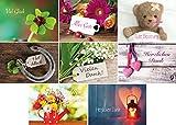 24 Glückwunschpostkarten - 8 Motive mit jeweils 3 Glückwunschkarten, Viel Glück, Alles Gute, Gute Besserung, Vielen Dank und Herzlichen Dank