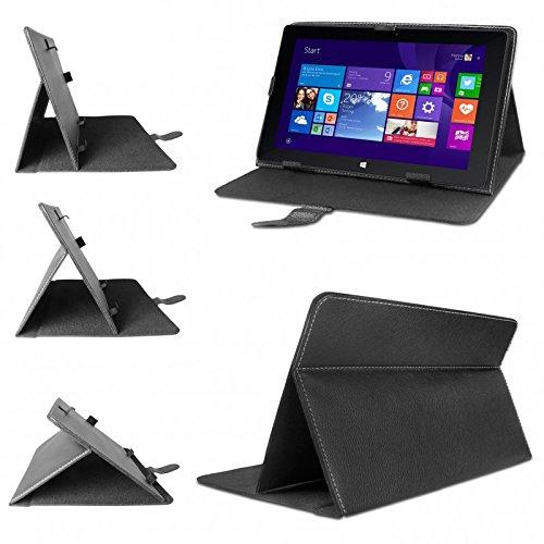 eFabrik Tasche für TrekStor Volks-Tablet SurfTab wintron 10.1 3G Hülle Schutztasche Schutzhülle Case Cover Stand-Funktion hochwertige Leder-Optik Schwarz
