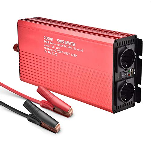 Modifizierter Sinus Wechselrichter Spannungswandler 2000W DC 12V auf 220V Inverter (2000W)