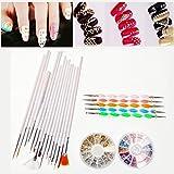 JZK Set 20 pennelli & dotter +12 colori pietre strass unghie +12 formine varie borchie oro argento, set decorazioni unghie nail art 3D kit