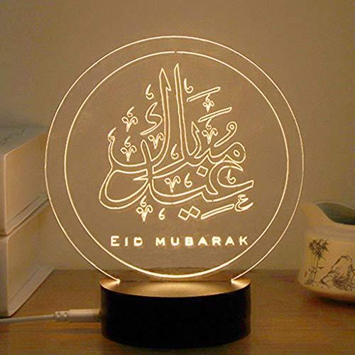 Wanfor 3D EID Mubarak LED Nachtlicht, Tischlampe USB Angetrieben Für Eid Ramadan Mubarak Party Dekoration -1# -