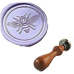 MDLG Custom Cute Bee Flying Monogramm Vintage Personalisierte Bild Buchstabe Logo Hochzeit Einladung Wachs Siegel Stempel Palisander Griff Set