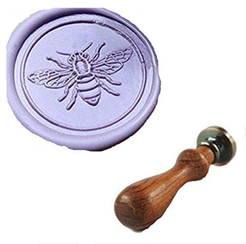 MDLG Custom Cute Bee Flying Monogramm Vintage Personalisierte Bild Buchstabe Logo Hochzeit Einladung Wachs Siegel Stempel Palisander Griff Set (Wax Seal Bee)