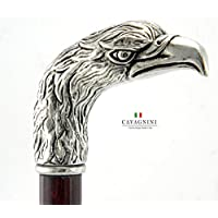 Spazierstock Holz Silber Zinn Griff schwarz elegant Hand gefertigt in unserem Labor Cavagnini solide und robuste Stick Modell Adler Damen Orthopäde italy