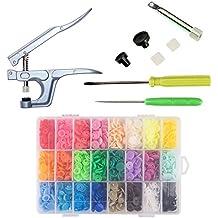 Tuscall Snaps Botón Plástico T5 360PCS con Aluminio Prensa Alicates Botones Presión para DIY Manualidades