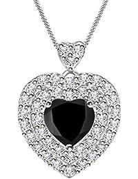 Silver Dew On 925 Pure Sterling Silver Women's Girls Love Valentine Pendant CZ Diamond In Rhodium Plated