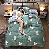 WAWA Komfortabel, warm, waschbar, langlebig und pflegeleicht,Plant Cashmere Baumwolle Schleifen vierteilige Bettdecke großen Meng Bär grün CH 1,5 m Bett vierteilig