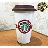 Starbucks Coffee Mug/Cup Large With Spoon And Silicon Cap (Tough Quality)(Ceramic)