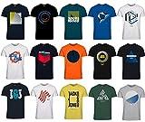 JACK & JONES Herren T-Shirt Slim Fit mit Aufdruck im 3er Oder 6er Mix Pack/Set mit Rundhals Marken Sale S M L XL XXL Gratis Wäschenetz von B46 (3er Mix Pack, S)