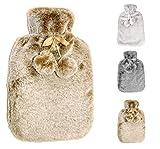 Wärmflasche mit dicken, cashmereweichen, luxuriösen Bezug   2 Liter Fassungsvermögen   Flauschig, zarte Wärmflasche   Geprüft und frei von Schadstoffen   von Soft & Cosy (Creamy Beige)