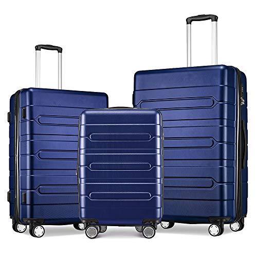 FOCHIER Maleta De CáScara Dura Liviana De 3 Juegos De Maletas con Ruedas TSA Lock Spinner 20inch24inch28inch,Azul