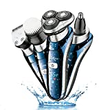 Hatteker 4 in 1 Electric Razor for Men Rotary Shavers Electric Shaver Waterproof
