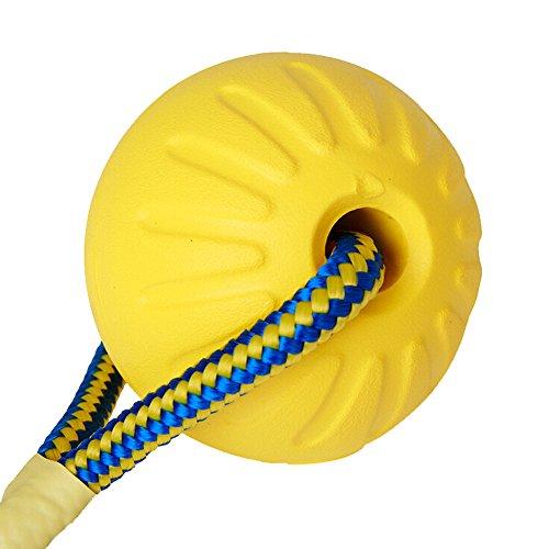 CAOQAO Ultra Tug Jouet pour Chien Balle avec Corde À Noeud pour Chien Indestructible Caoutchouc Balle en Corde Jouet à MâCher Interactif Resistant Nettoyer Les Dents,Jaune