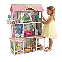 KidKraft 65851 Sweet Savannah Wooden Dolls House with Furniture and Accessories Included, 3 Storey Play Set for 30 cm/12 Inch Dolls