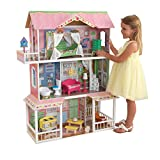 KidKraft 65935 Sweet Savannah Puppenhaus aus Holz mit Zubehör für 30cm große Puppen mit 14 Accessoires und 3 Spielebenen