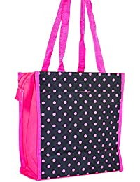 J Garden Black Pink Polka Dot Canvas Travel Tote Bag 12-Inch