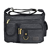 AgooLar Women Fashion Zipper Canvas Bags Zippers Crossbody Bags, GMDBB191996, Black